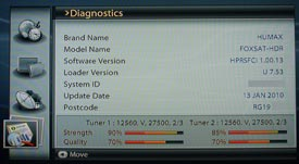 Humax Diagnostics Screen