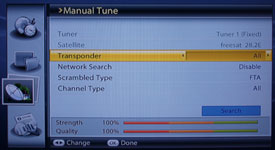 Manual Tuning Menu