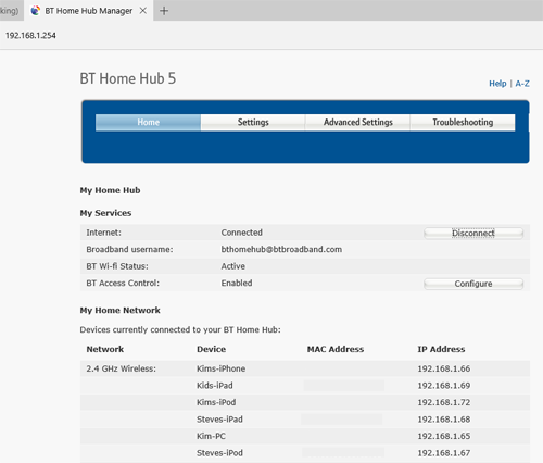 BT Hub 5 admin screen