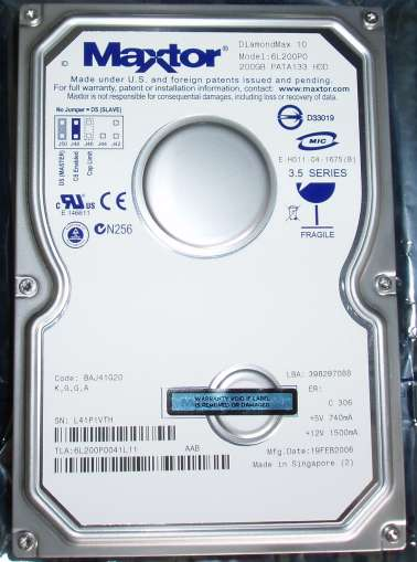 Maxtor DiamondMax 200GB IDE Hard Drive